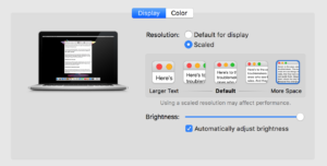 MacBook Pro Retina Display Settings