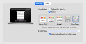 MacBook Pro Retina Display Settings
